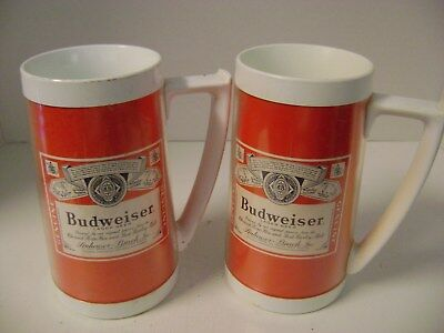 2 vintage collectible Genuine BUDWEISER Thermo-Serv plastic beer mugs steins RED