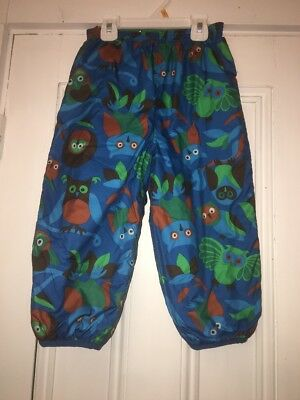 Patagonia Kids Baby Reversible Puff-Ball Snow Pants Owl Sz 3t Blue Green