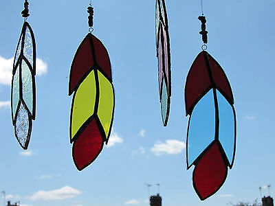 Handmade Art Stained Glass Bird Feather Suncatcher Red & Blue Unique Gift UK
