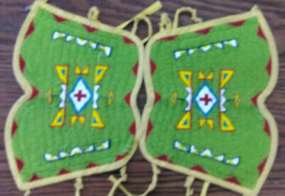 VINTAGE Native American Beaded Cuffs Adult Hand Stitched