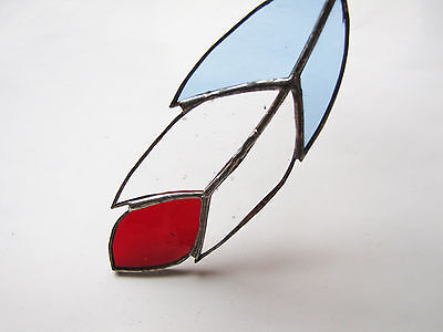 Handmade Stained Glass Bird Feather Suncatcher Blue/Clear/Red Glass- Fab Gift
