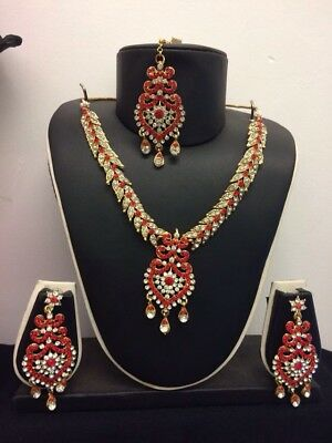 New Red Gold Indian Costume Jewellery Necklace Earrings Set Bridal Party -J2