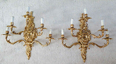 Pair of Vintage Solid Heavy Brass Large Wall Sconces