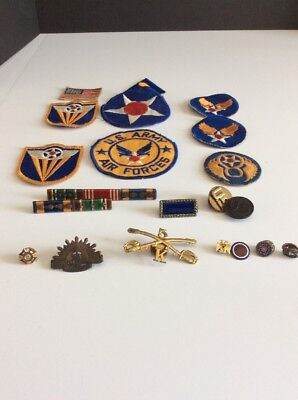 Vintage Lot Of 21 Military Patches & Pins