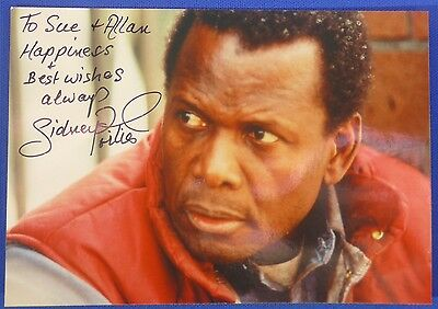 SIDNEY POITIER  signed autograph 3 by 5 photo