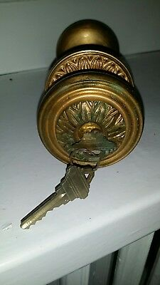 Antique Arts & Crafts Brass Door Knob and Mortise Lock w/Key