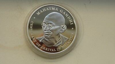 2001 Mauritius  100 Rupees Gandhi Silver Proof coin