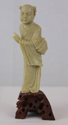 Antique/Vintage Chinese Hand Carved Soapstone Asian Man Statue Figure Stone Base