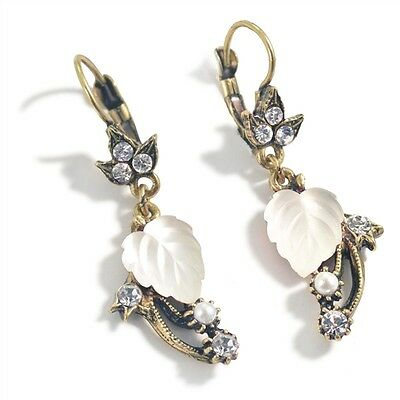 New Sweet Romance Art Nouveau Glass Leaves Earrings Bt/ White  ~~Made In Usa~~