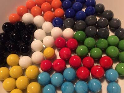 25 SOLID COLOUR SMALL MARBLES 14/15 mm RED BLUE YELLOW WHITE BLACK GREEN