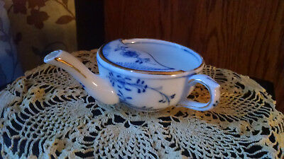 Antique Invalid Feeder Cup: Made in Germany Blue Floral Design with Gold Accents