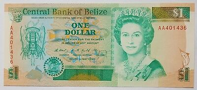 Belize-1 Dollar-1990-Prefix Aa-Pick 51 , Unc .