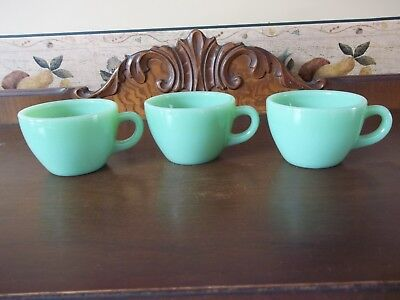 SET Of 3 VINTAGE JADEITE Green FIRE KING COFFEE CUPS/Mugs~RESTAURANT WARE~NICE!!