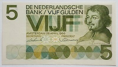 Netherlands-5 Gulden-1966-Pick 90-Serial Number 069520-Lot 2  ,  Choice Unc .