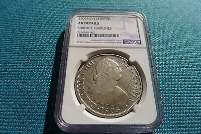 VERY RARE & SCARCE 1805 8REALES FJ CHILE So NGC AU DETAILS SURFACE HAIRLINES