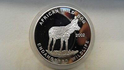 2002 Ghana 500 Sika Wild Dog Silver Proof coin