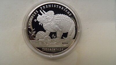 1994 Caribbean 5 Pesos Triceratops Silver Proof coin