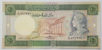 SYRIA-100 POUNDS-1990-PICK 104d-SERIAL NUMBER 561227 , LOT 1 , UNC .