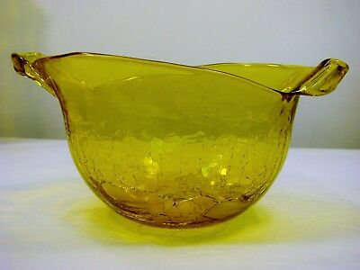 HUSTED Hand SIGNED Blenko Yellow Crackle Free Form Bowl. Mid Century Modern
