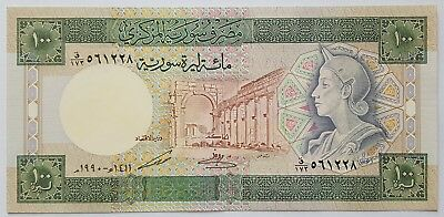 SYRIA-100 POUNDS-1990-PICK 104d-SERIAL NUMBER 561228 , LOT 2 , UNC .