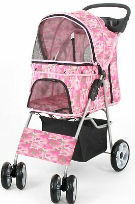 VIVO Four Wheel Pet Stroller Cat & Dog Folding Carrier Strolling Cart Pink Camo