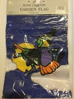 "Halloween Garden Flag Witch Black Cat 10"" X 13"" NIP Vintage"