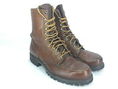 """Vtg Red Wing Heritage Work Safety Boot 8"""" Moc Toe Men's 6.5 B Brown Leather USA"""