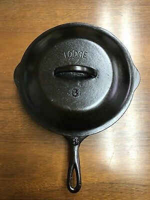LODGE Arch Logo raised Number # 8 Cast Iron Skillet Solid HEAT RING with Lid!!!