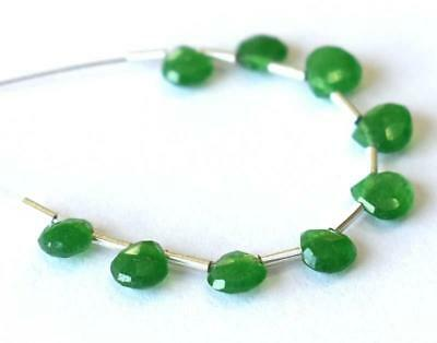 Green Chalcedony Beads Faceted Heart 4.5 - 5 Mm 3 Cts    9 Pcs @1647