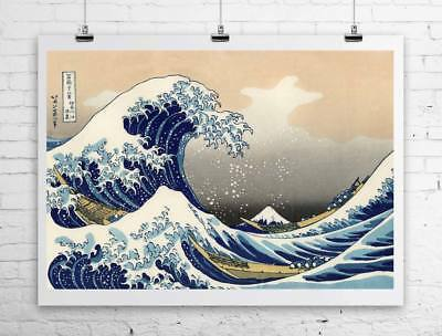 45c245ccb261a Great Wave Off Kanagawa Vintage Japanese Art Canvas Giclee Print 32x24 in.