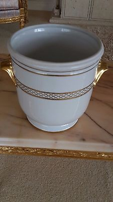 Dubarry Limoges Planter Pot Holder Cachepot Jardiniere Porcelain White Gold