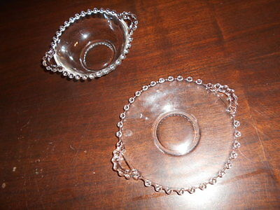 """IMPERIAL GLASS CANDLEWICK 5 1/2"""" ROUND PLATE & 4 1/2"""" BOWL both with Two Handles"""