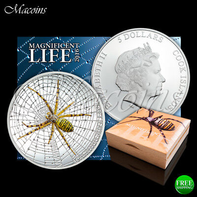 Wasp Spider Magnificent Life 2016 Cook Islands 1 Oz 999 Silver Coloured Coin