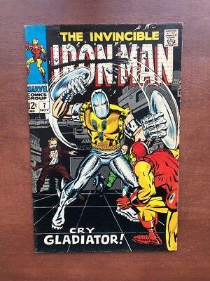 "Iron Man #7 (1968) 5.0 VG Marvel Key Issue Silver Age Comic ""Cry Gladiator"""