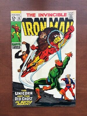 Iron Man #15 (1969) 6.0 FN Marvel Key Issue Silver Age Unicorn & Red Ghost App
