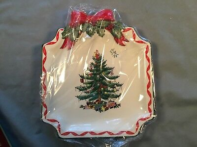 "Spode Christmas Tree Ribbons Canape Plate 6.5"" Square New In Box"