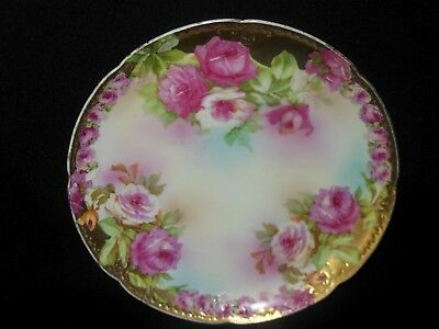 Royal Vienna Hand Painted Plate Gold Embossed Rim Pink Roses 1902