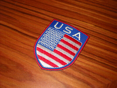 USA United States of America Flag Shield Embroidered Iron On Patch