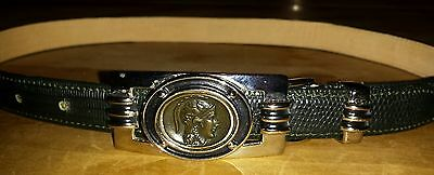 WOMENS CARLISLE BELT SIZE S SMALL Black Belt WITH SILVER COLOR Roman Coin BUCKLE