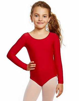 Leveret Girls Red Long Sleeve Leotard Variety of Colors (2T-14Y)