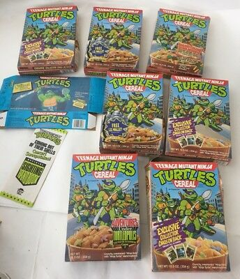 Lot Of 9 Tmnt Cereal Boxes Pamphlet Bubble Gum Popsicles