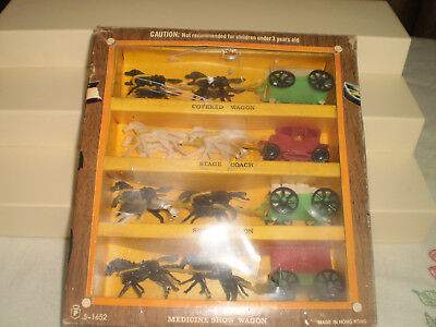 Vintage Miniature Plastic Horse And Wagon Sets, Made In Hong Kong