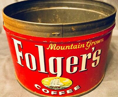 Vintage Folger's Coffee Key Can 1Lb Pat 1959 Ship Logo Red Coffee Tin