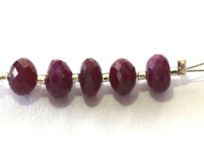 100% Natural Ruby Beads Faceted Rondelle 5.5 - 6 Mm Gemstone 5 Pcs S1075