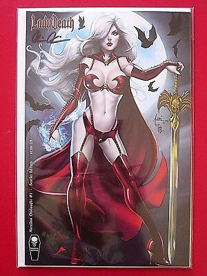 LADY DEATH MERCILESS ONSLAUGHT #1 Scarlet ed (NM) TUCCI RARE SIGNED PULIDO wCOA