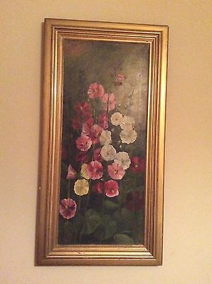 Antique / Vintage Large Beautiful Framed Oil Painting on Canvas of Hollyhocks
