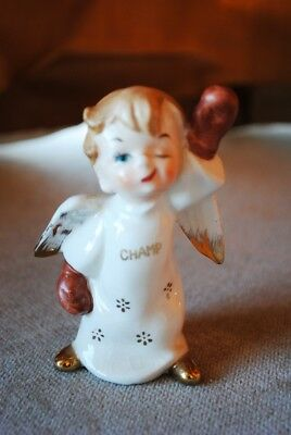 Vintage Porcelain Angel CHAMP figurine boxing gloves Victory stance Nice
