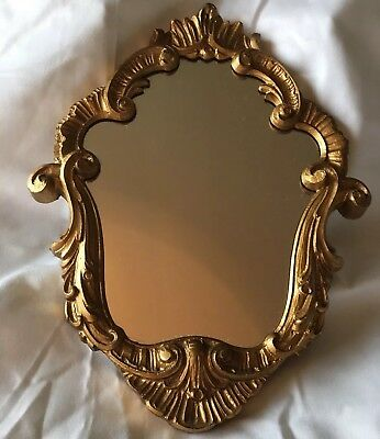 Small Vintage EMPIRE Gilded HAND CARVED Wood Rococo Italian Mirror