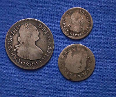 Lot of (3) Spanish Reale Coinage! 1743-1800. No Reserve.