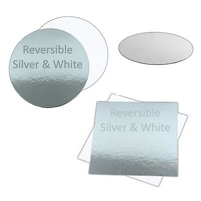 "Reversible Cake Board Silver and White 1.5mm Thick Cards 3"" 4"" 6"" 8"" 10"" 12"" 14"""